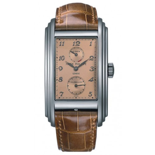 Replica Patek Philippe 10 Day Tourbillion Rose Gold Dial Brown Leather Mens Watch