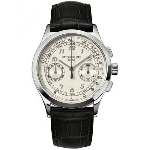 Replica Patek Philippe Complications Black Dial White Gold Mens Watch