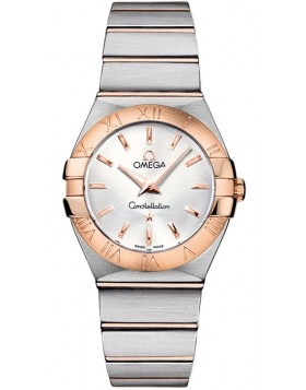 Fake Omega Constellation Brushed Quartz 27mm Ladies Watch 123.20.27.60.02.001