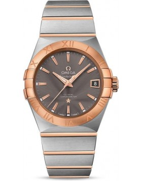 Popular Replica Omega Constellation Grey Dial Steel and Rose Gold Automatic Mens Watch 123.20.38.21.06.002