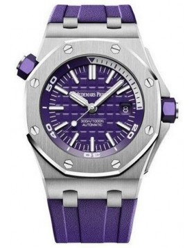 Fake Audemars Piguet Royal Oak Offshore Diver Purple Dial 15710ST.OO.A077CA.01