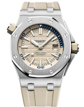 Fake Audemars Piguet Royal Oak Offshore Diver Beige Dial 15710ST.OO.A085CA.01