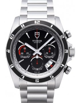 Tudor Grantour Chrono Bay Black Dial Steel Strap Mens Watch Replica 20530N-1