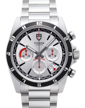 Tudor Grantour Chrono Silver Dial Steel Strap Mens Watch Replica 20530N-2