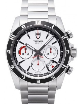 Tudor Grantour Chrono White Dial Steel Strap Mens Watch Replica 20530N-3