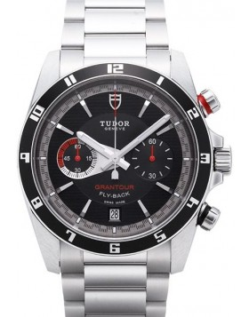 Tudor Grantour Chrono Fly Back Black Dial Steel Strap Mens Watch Replica 20550N-95730black