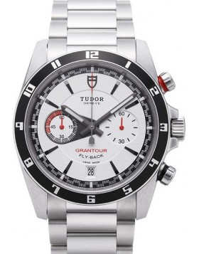 Tudor Grantour Chrono Fly Back White Dial Steel Strap Mens Watch Replica 20550N-95730white