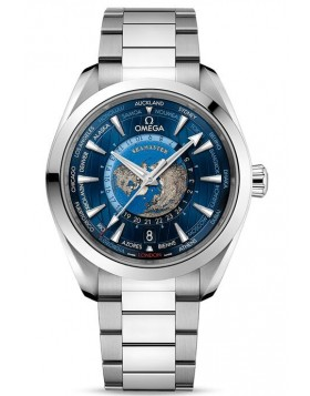 Fake Omega Seamaster Aqua Terra 150M GMT Worldtimer Stainless Steel Watch 220.10.43.22.03.001