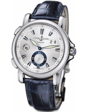 Fake Ulysse Nardin Dual Time Silver Dial Mens Automatic Watch 243-55/91