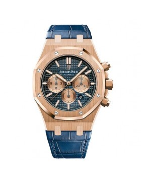 Replica Audemars Piguet Royal Oak Rose Gold Blue Dial Mens Watch