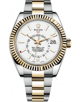 Popular Replica Rolex Sky-Dweller 42 mm White Dial Mens Watch 326933-0009