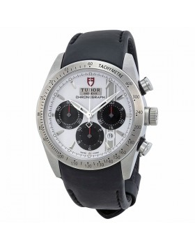 Tudor Fastrider White Dial Black Leather Watch Chronograph Automatic Mens Watch Replica 42000-WSBKLS