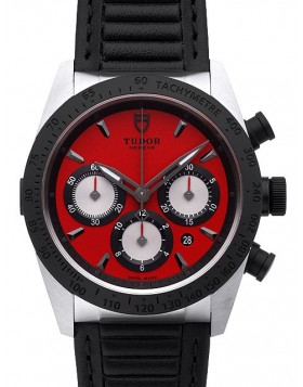 Tudor Fastrider Chronograph Red Dial Calfskin Strap Mens Watch Replica 42010N-1