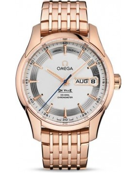 Popular Replica Omega De Ville Hour Vision Annual Calendar 41mm Silver Dial Red Gold 431.60.41.22.02.001