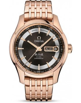 Popular Replica Omega De Ville Hour Vision Annual Calendar 41mm Brown Dial Red Gold 431.60.41.22.13.001