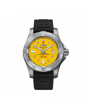 Breitling Avenger II Seawolf Yellow Dial Black Rubber Mens Watch Fake