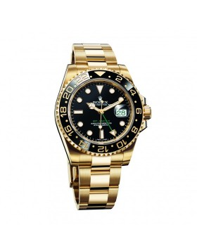 Rolex Gmt-Master II Yellow Gold Black Dial Mens Watch Replica