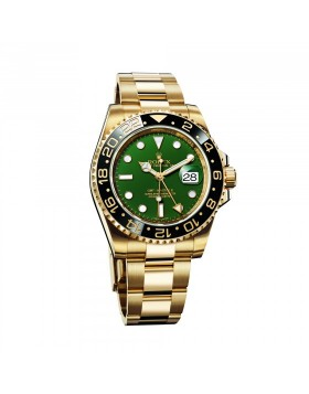 Rolex Gmt-Master II Yellow Gold Green Dial Mens Watch Replica