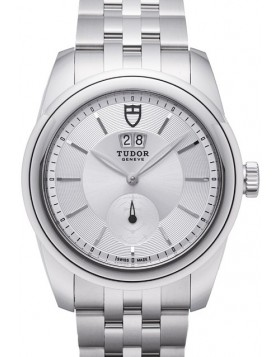 Tudor Glamour Double Date 42mm Silver Dial Steel Strap Mens Watch Replica 57000-3