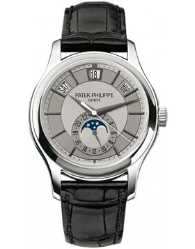 Replica Patek Philippe Grey Dial 18kt White Gold Black Leather Mens Watch