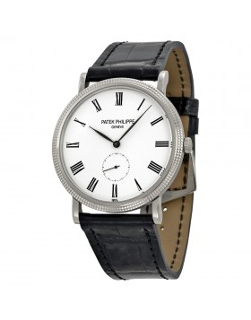 Replica Patek Philippe Calatrava Automatic White Dial 18 kt White Gold Mens Watch