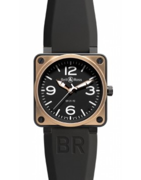 Replica Bell & Ross BR01-92 Automatic 46mm BR01-92 Pink Gold Carbon Mens Watch