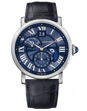 Replica Cartier Rotonde Second Time Zone Day/Night Blue White Gold Mens Watch