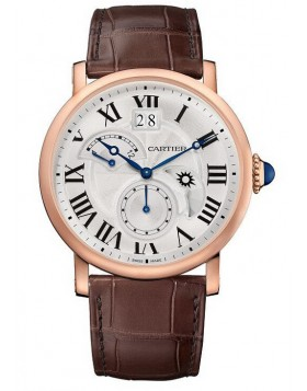 Replica Cartier Rotonde Second Time Zone Day/Night Pink Gold Mens Watch