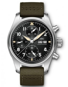 Fake IWC Pilot's Chronograph Spitfire Black Dial Watch IW387901