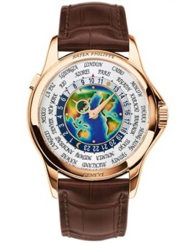 Replica Patek Philippe World Time Enamel Dial Rose Gold Full Set