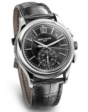 Replica Patek Philippe Complications Black Dial Annual Calendar Platinum Mens Watch
