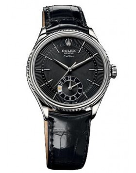 Rolex Cellini Dual Time 39mm Black Mens Watch Replica