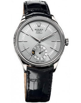 Rolex Cellini Dual Time 39mm Silver Mens Watch Replica
