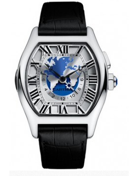 Replica Cartier Tortue Multiple Time Zones White Gold Mens Watch