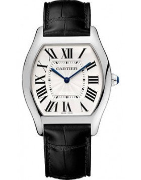 Replica Cartier Tortue Silver Dial 18k White Gold Mens Watch