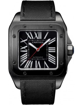 Replica Cartier Santos 100 Carbon Large Leather Automatic Mens Watch