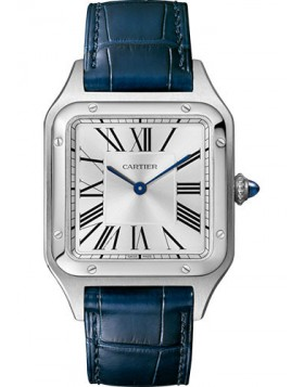 Fake Cartier Santos Dumont Silver Roman Dial Mens Watch WSSA0022