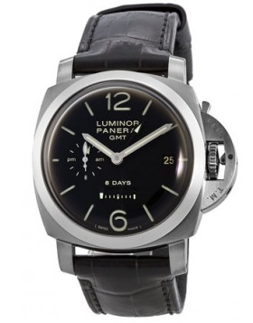 Popular Replica Panerai Luminor 1950 8 Days GMT Hand Wound Leather Strap Mens Watch PAM00233