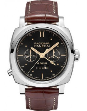 Panerai Radiomir 1940 Chrono Monopulsante 8 Day GMT Oro Rosso White Gold Mens Watch Replica PAM00503