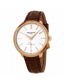 Replica Patek Philippe Calatrava Silver Dial 18k Rose Gold Mens Watch
