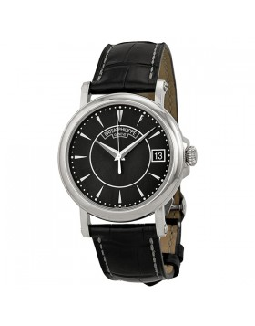 Replica Patek Philippe Calatrava Black Dial 18k White Gold Black Leather Mens Watch
