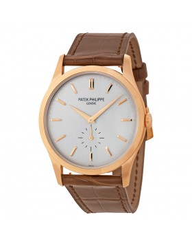 Replica Patek Philippe Calatrava Automatic White Dial 18 kt Rose Gold Mens Watch