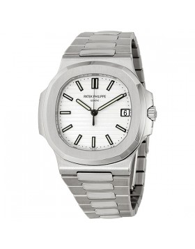 Replica Patek Philippe Nautilus Silvery White Dial Stainless Steel Mens Watch
