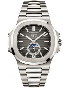 Replica Patek Philippe Nautilus Mechanical Black Dial Steel Mens Watch