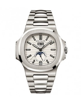 Replica Patek Philippe Nautilus Silver Dial Stainless Steel Mens Mechanical Watch