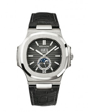 Replica Patek Philippe Nautilus Automatic GMT Moonphase Black Dial Stainless Steel Mens Watch