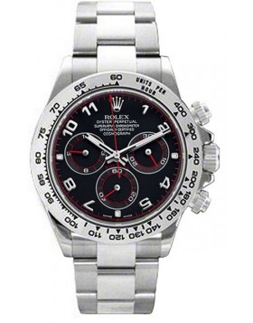 Rolex Cosmograph Daytona Black Dial White Gold Mens Watch Fake