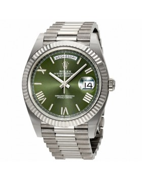 Rolex Day-Date 40 Olive Green Dial White Gold Automatic Mens Watch Fake